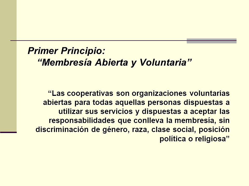 Primer Principio: Membresía Abierta y Voluntaria Las cooperativas son organizaciones voluntarias abiertas para todas aquellas personas dispuestas a utilizar sus servicios y dispuestas a aceptar las responsabilidades que conlleva la membresía, sin discriminación de género, raza, clase social, posición política o religiosa