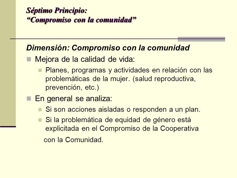 Séptimo Principio: Compromiso con la comunidad Dimensión: Compromiso con la comunidad Mejora de la calidad de vida: Planes, programas y actividades en relación con las problemáticas de la mujer.