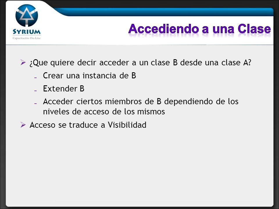 ¿Que quiere decir acceder a un clase B desde una clase A? Crear una instancia de B Extender B Acceder ciertos miembros de B dependiendo de los niveles