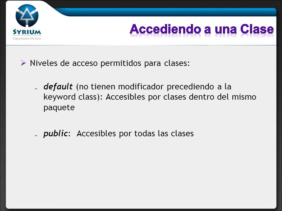 Niveles de acceso permitidos para clases: default (no tienen modificador precediendo a la keyword class): Accesibles por clases dentro del mismo paque