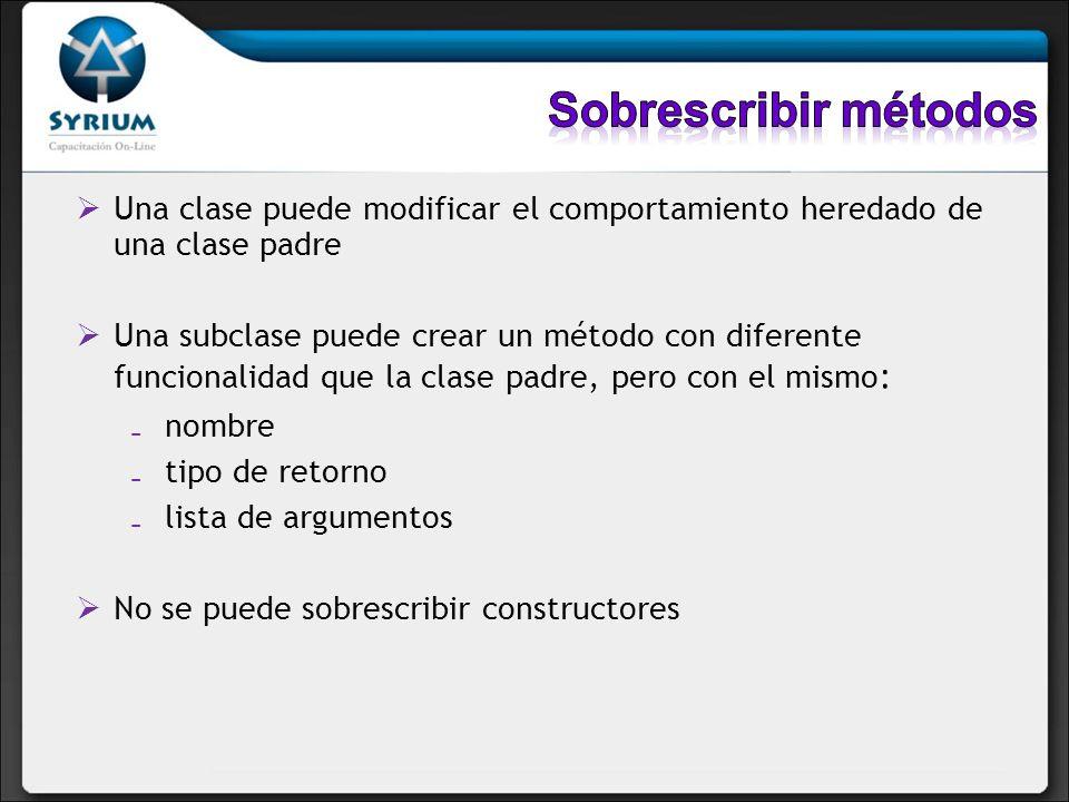 Una clase puede modificar el comportamiento heredado de una clase padre Una subclase puede crear un método con diferente funcionalidad que la clase pa