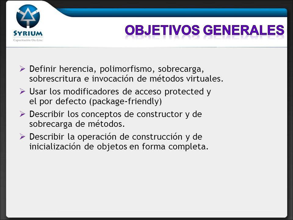 Definir herencia, polimorfismo, sobrecarga, sobrescritura e invocación de métodos virtuales. Usar los modificadores de acceso protected y el por defec