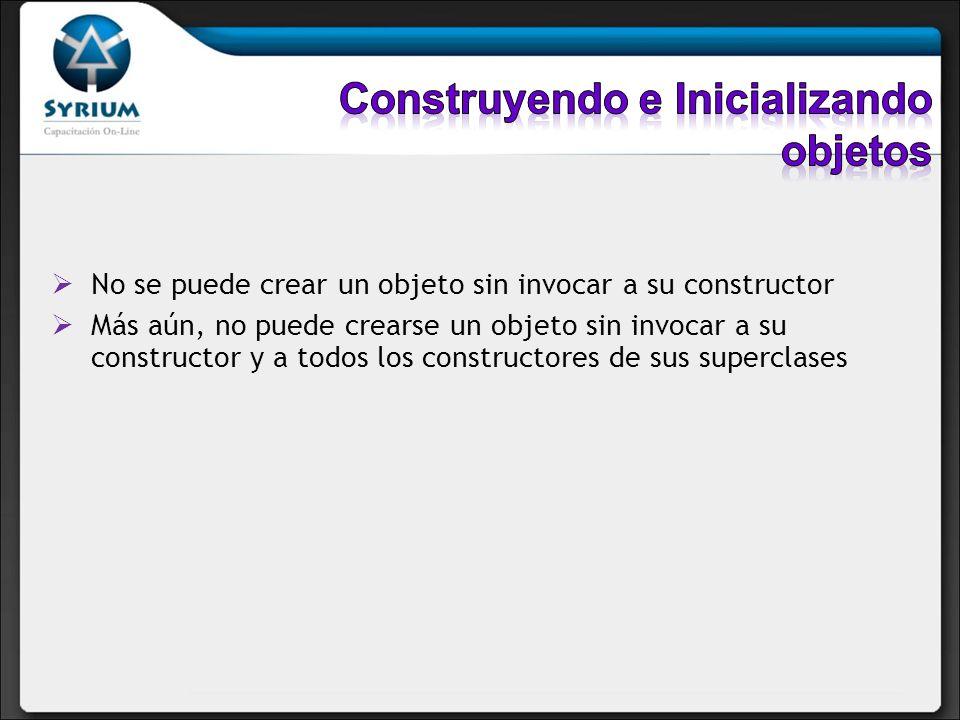 No se puede crear un objeto sin invocar a su constructor Más aún, no puede crearse un objeto sin invocar a su constructor y a todos los constructores
