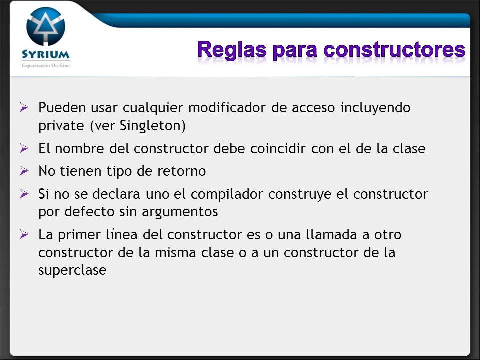 Pueden usar cualquier modificador de acceso incluyendo private (ver Singleton) El nombre del constructor debe coincidir con el de la clase No tienen t