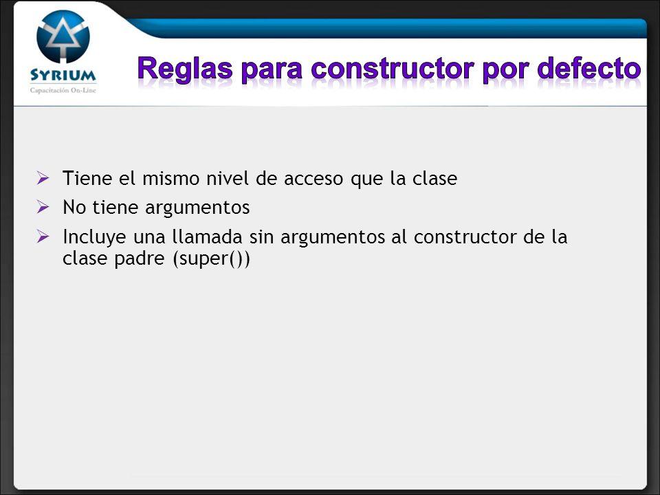 Tiene el mismo nivel de acceso que la clase No tiene argumentos Incluye una llamada sin argumentos al constructor de la clase padre (super())