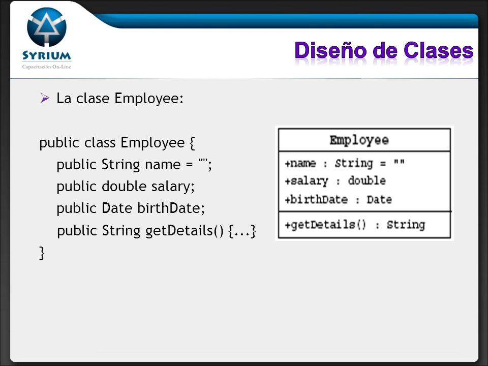La clase Employee: public class Employee { public String name =