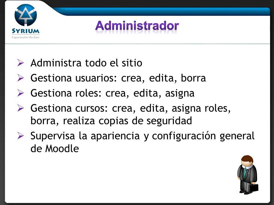 Administra todo el sitio Gestiona usuarios: crea, edita, borra Gestiona roles: crea, edita, asigna Gestiona cursos: crea, edita, asigna roles, borra,