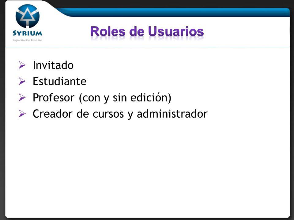 Invitado Estudiante Profesor (con y sin edición) Creador de cursos y administrador