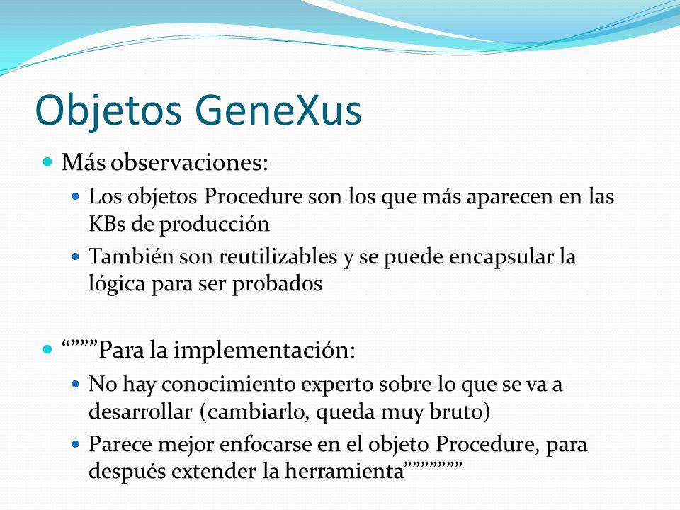 Objetos GeneXus Más observaciones: Los objetos Procedure son los que más aparecen en las KBs de producción También son reutilizables y se puede encaps