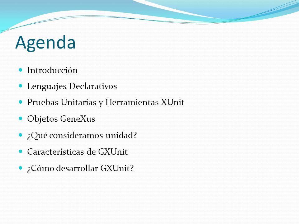 Agenda Introducción Lenguajes Declarativos Pruebas Unitarias y Herramientas XUnit Objetos GeneXus ¿Qué consideramos unidad? Características de GXUnit