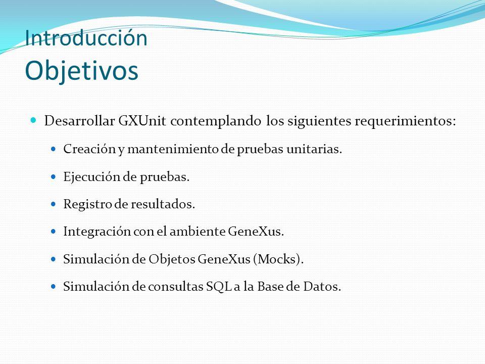 Introducción Objetivos Desarrollar GXUnit contemplando los siguientes requerimientos: Creación y mantenimiento de pruebas unitarias. Ejecución de prue