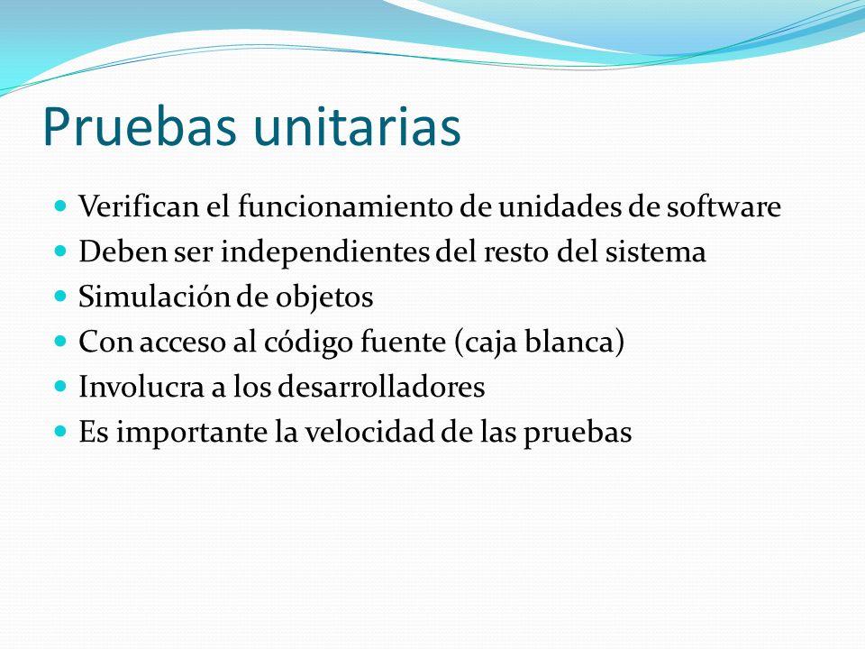 Pruebas unitarias Verifican el funcionamiento de unidades de software Deben ser independientes del resto del sistema Simulación de objetos Con acceso