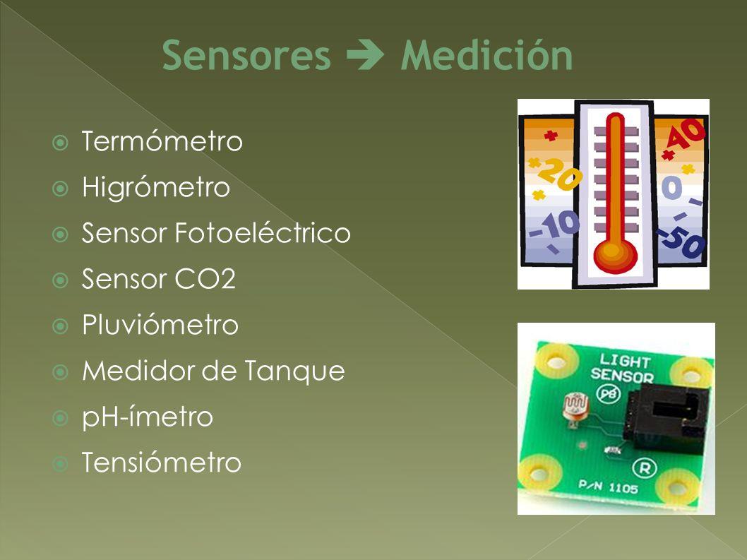 Termómetro Higrómetro Sensor Fotoeléctrico Sensor CO2 Pluviómetro Medidor de Tanque pH-ímetro Tensiómetro Sensores Medición