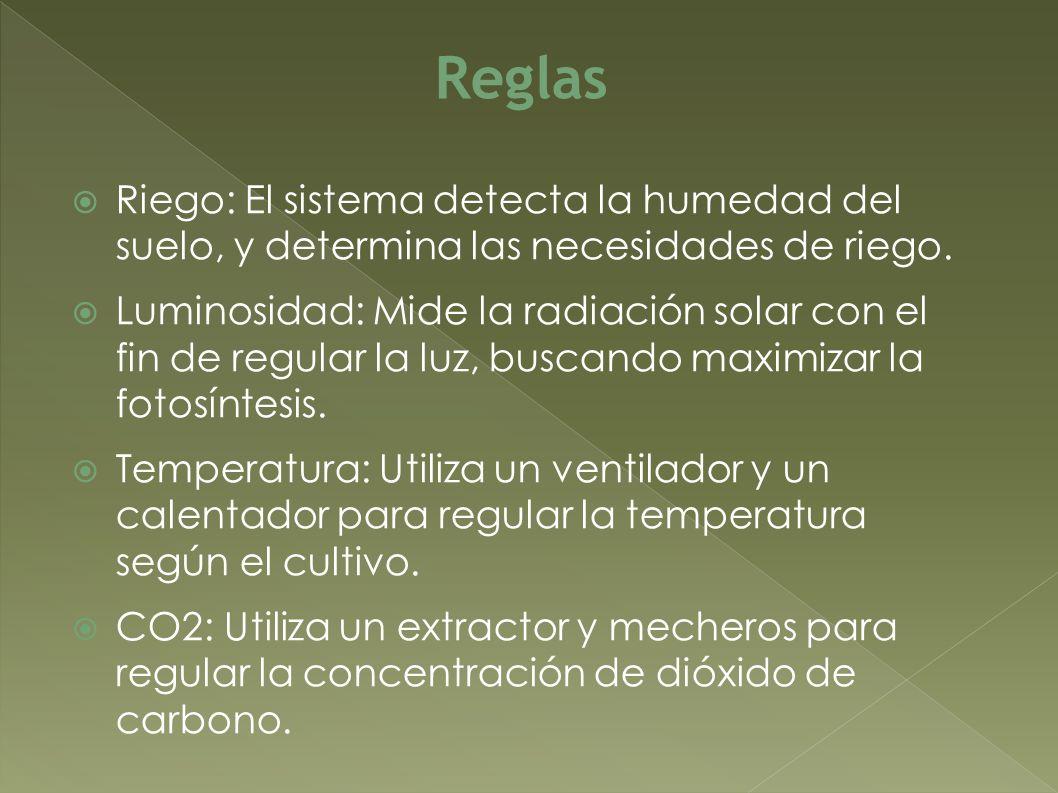 Riego: El sistema detecta la humedad del suelo, y determina las necesidades de riego. Luminosidad: Mide la radiación solar con el fin de regular la lu