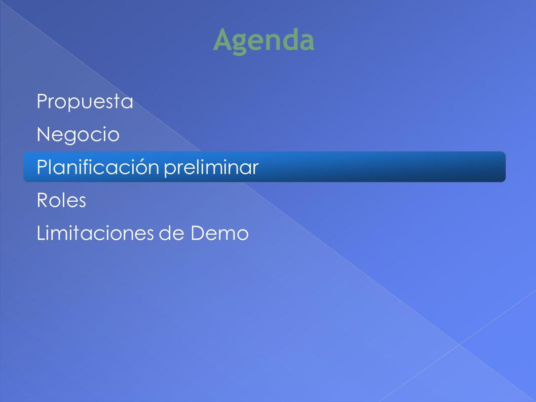 Propuesta Negocio Planificación preliminar Roles Limitaciones de Demo Agenda