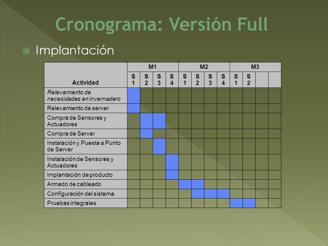 Implantación Cronograma: Versión Full Actividad M1M2M3 S1S1 S2S2 S3S3 S4S4 S1S1 S2S2 S3S3 S4S4 S1S1 S2S2 Relevamiento de necesidades en invernadero Re