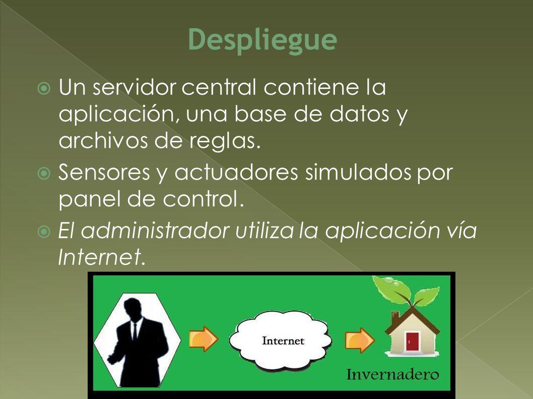 Un servidor central contiene la aplicación, una base de datos y archivos de reglas. Sensores y actuadores simulados por panel de control. El administr