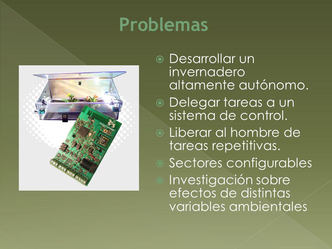 Desarrollar un invernadero altamente autónomo. Delegar tareas a un sistema de control. Liberar al hombre de tareas repetitivas. Sectores configurables