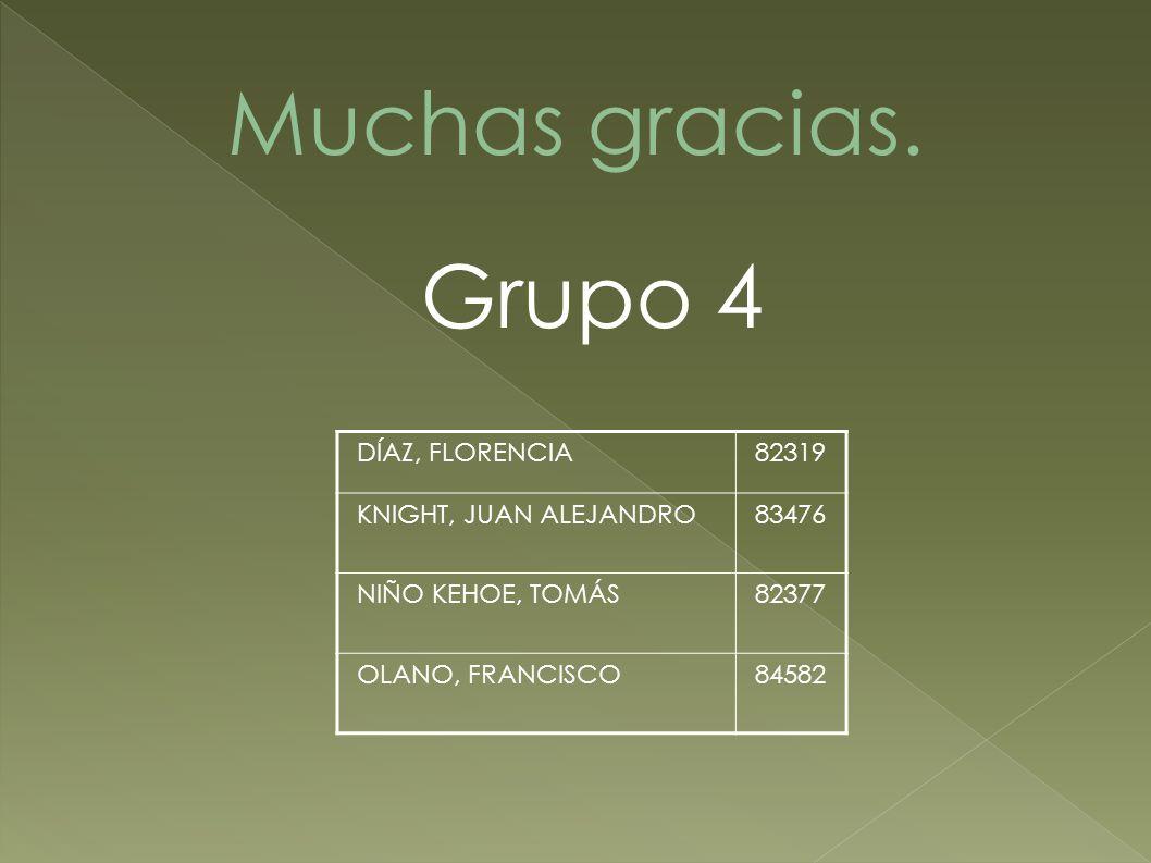 Grupo 4 DÍAZ, FLORENCIA82319 KNIGHT, JUAN ALEJANDRO83476 NIÑO KEHOE, TOMÁS82377 OLANO, FRANCISCO84582