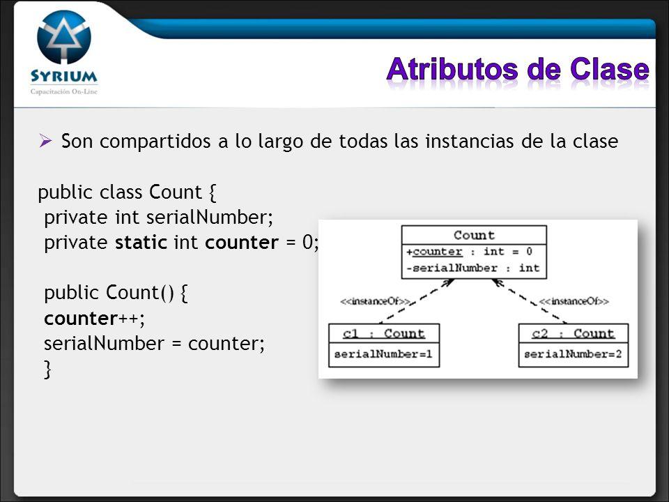 Son compartidos a lo largo de todas las instancias de la clase public class Count { private int serialNumber; private static int counter = 0; public C