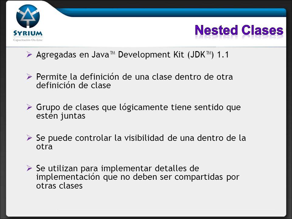 Agregadas en Java Development Kit (JDK) 1.1 Permite la definición de una clase dentro de otra definición de clase Grupo de clases que lógicamente tien