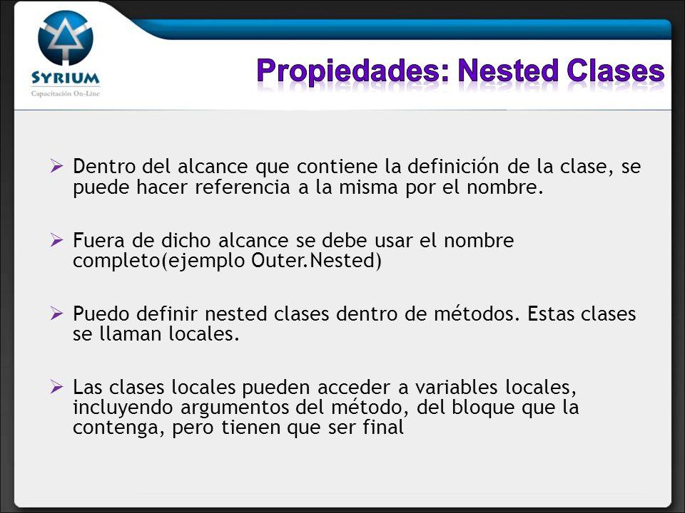 Dentro del alcance que contiene la definición de la clase, se puede hacer referencia a la misma por el nombre. Fuera de dicho alcance se debe usar el
