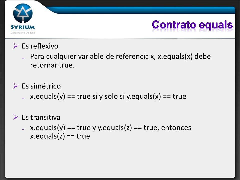 Es reflexivo Para cualquier variable de referencia x, x.equals(x) debe retornar true. Es simétrico x.equals(y) == true si y solo si y.equals(x) == tru