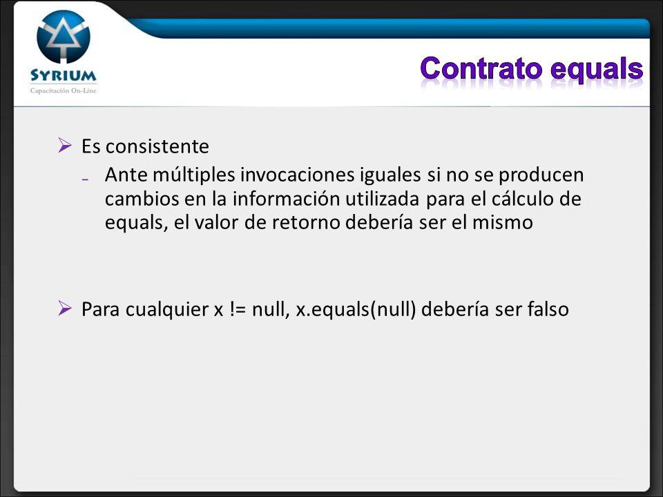 Es consistente Ante múltiples invocaciones iguales si no se producen cambios en la información utilizada para el cálculo de equals, el valor de retorn