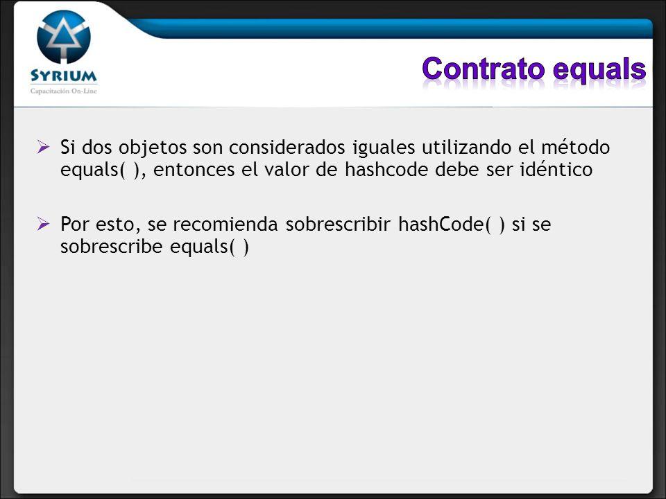 Si dos objetos son considerados iguales utilizando el método equals( ), entonces el valor de hashcode debe ser idéntico Por esto, se recomienda sobres