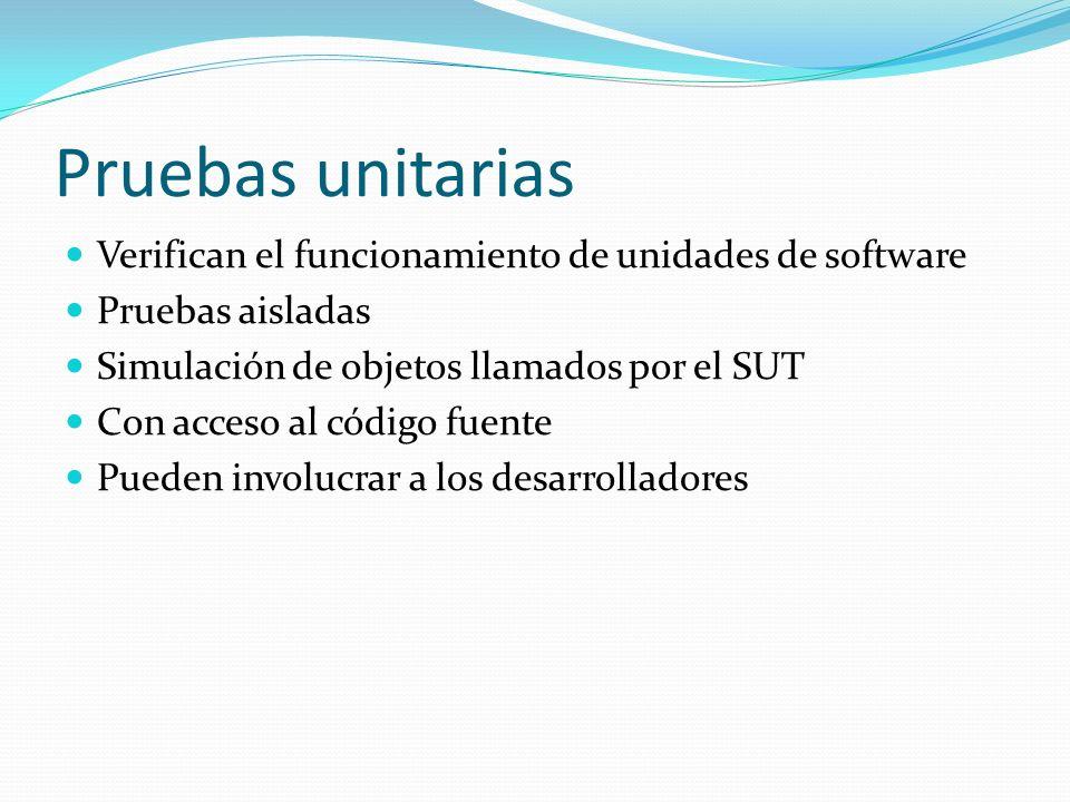 Herramientas xUnit Frameworks para automatización de pruebas unitarias Permiten crear y ejecutar las pruebas Se escriben y controlan los resultados en el mismo lenguaje del SUT Al ejecutar una prueba indican si el SUT pasó o falló