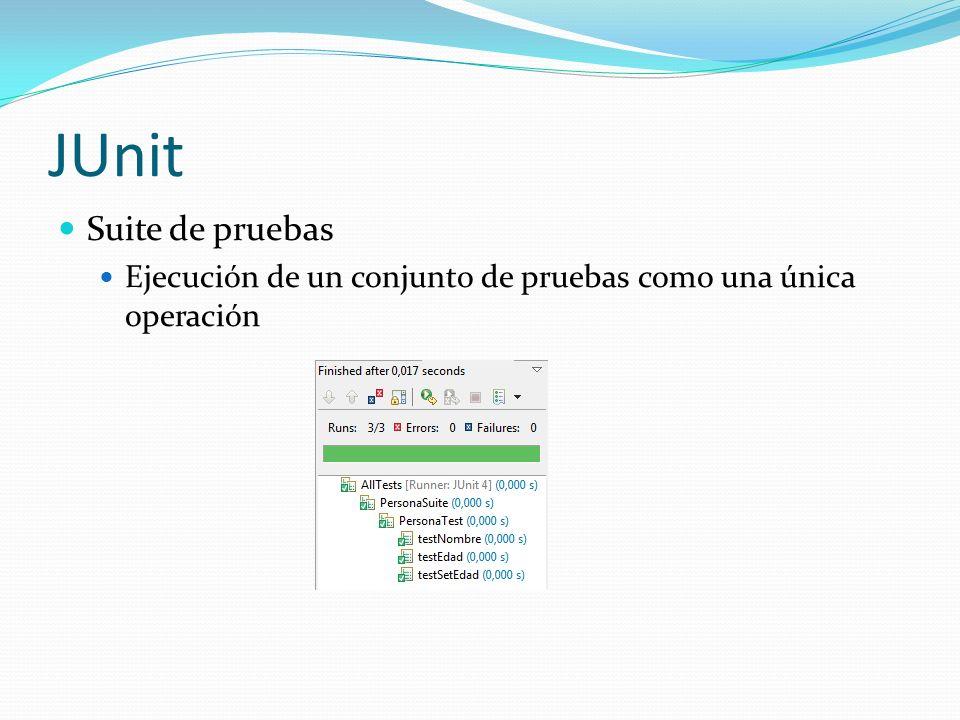 PBUnit Framework xUnit para Power Builder Basado en JUnit Especificación del Contexto de las pruebas Permite especificar métodos para que corran antes de comenzar la ejecución de las pruebas y luego de finalizadas (setUp y tearDown) Métodos Assertion Provee de Métodos Assertions que validan los resultados de la ejecución de la prueba