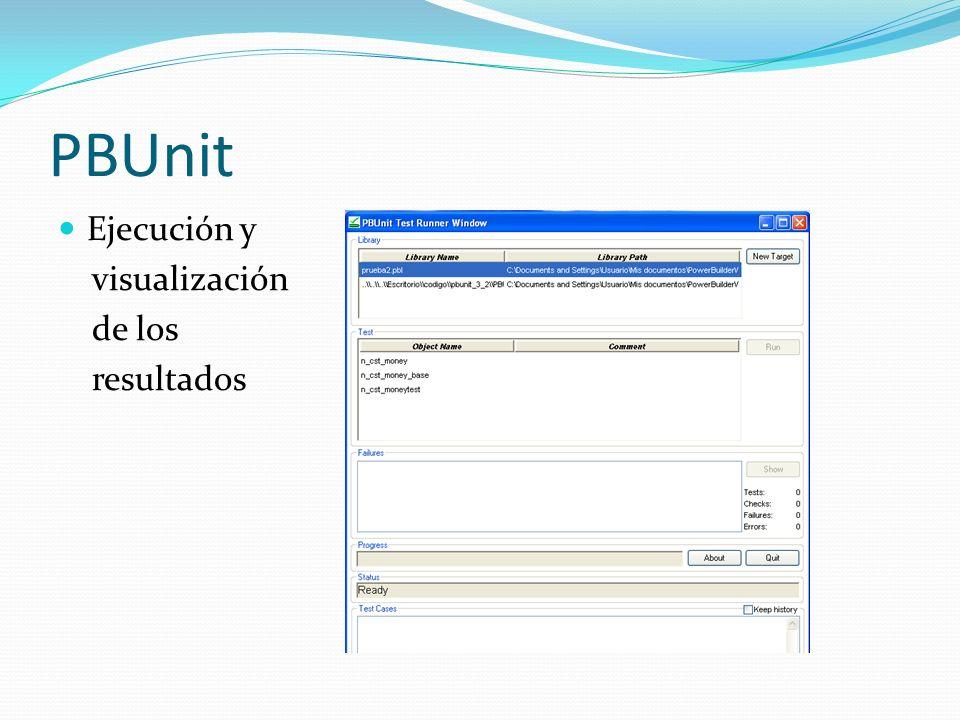 GXUnit (Versión 2007) Se verifican objetos Procedure Se construyen conjuntos de pruebas donde se indican las entradas del procedimiento sus salidas esperadas, según los parámetros definidos en las rules Los conjuntos de prueba pueden construirse manualmente o cargarlos desde un XML Al correr las pruebas se deben seleccionar que pruebas quieren ejecutarse El resultado de las pruebas se guarda en un XML y puede verse desde el IDE de desarrollo