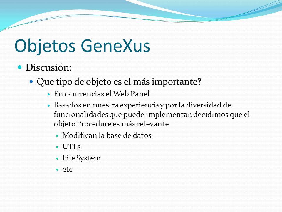 Objetos GeneXus Business Process Diagram No los contamos Su número es mínimo dentro de las KBs analizadas 1 o 4 ocurrencias en tres de las KBs Es de interés probarlos unitariamente.