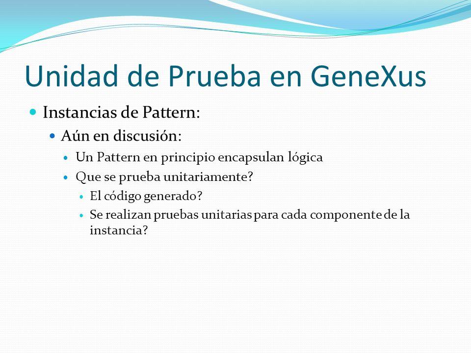 Características de GXUnit Se Necesita: Que esté integrada al entorno de GeneXus Es más sencillo utilizar la herramienta Se pueden considerar las preferencias de desarrollo de la KB Pruebas veloces Almacenar pruebas Guardar los resultados