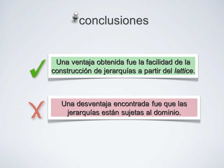 conclusiones Una ventaja obtenida fue la facilidad de la construcción de jerarquías a partir del lattice.