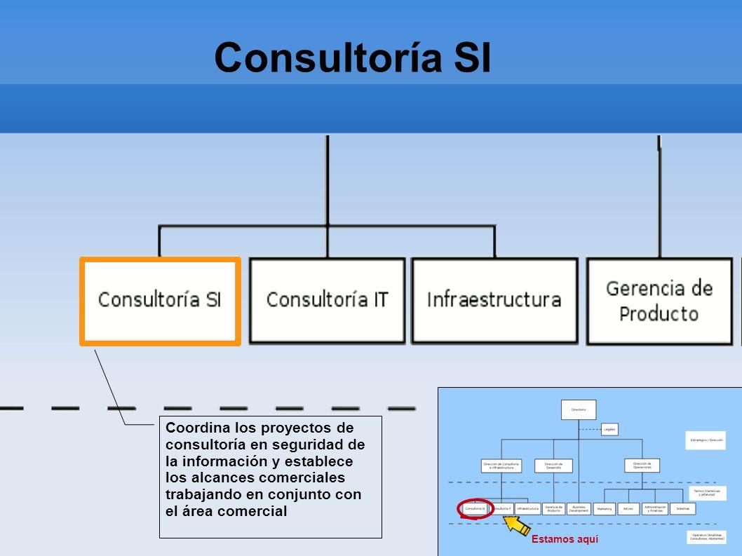 Consultoría SI Estamos aquí Coordina los proyectos de consultoría en seguridad de la información y establece los alcances comerciales trabajando en co
