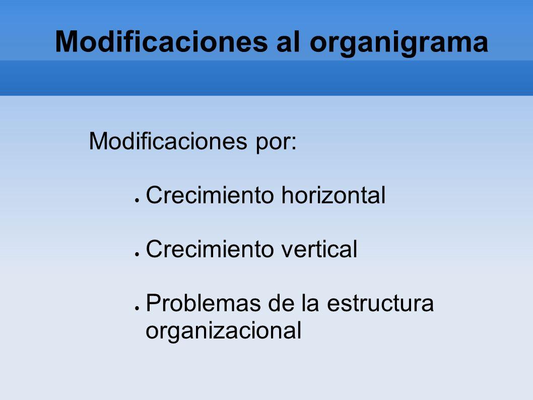 Modificaciones al organigrama Modificaciones por: Crecimiento horizontal Crecimiento vertical Problemas de la estructura organizacional