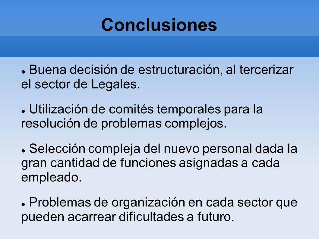 Conclusiones Buena decisión de estructuración, al tercerizar el sector de Legales. Utilización de comités temporales para la resolución de problemas c