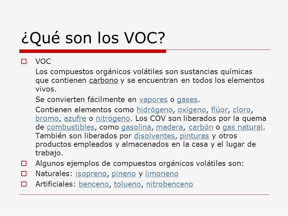¿Qué son los VOC? VOC Los compuestos orgánicos volátiles son sustancias químicas que contienen carbono y se encuentran en todos los elementos vivos. S