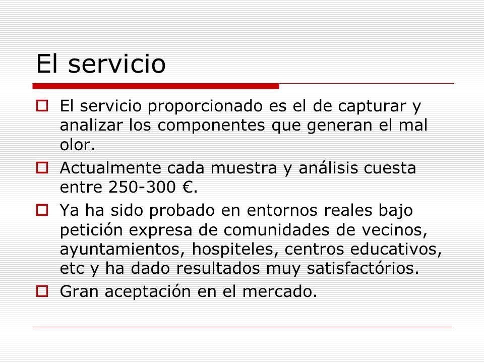 El servicio El servicio proporcionado es el de capturar y analizar los componentes que generan el mal olor. Actualmente cada muestra y análisis cuesta