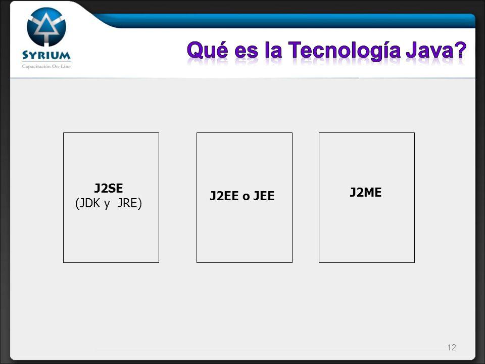 J2SE (JDK y JRE) J2EE o JEE J2ME 12