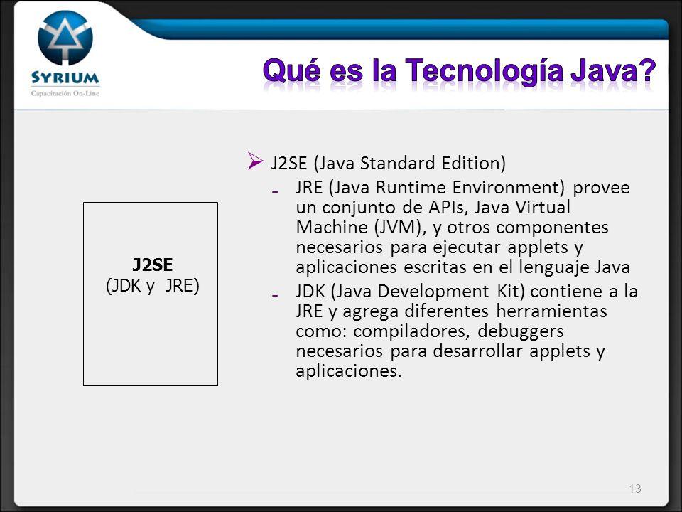 J2SE (Java Standard Edition) JRE (Java Runtime Environment) provee un conjunto de APIs, Java Virtual Machine (JVM), y otros componentes necesarios par