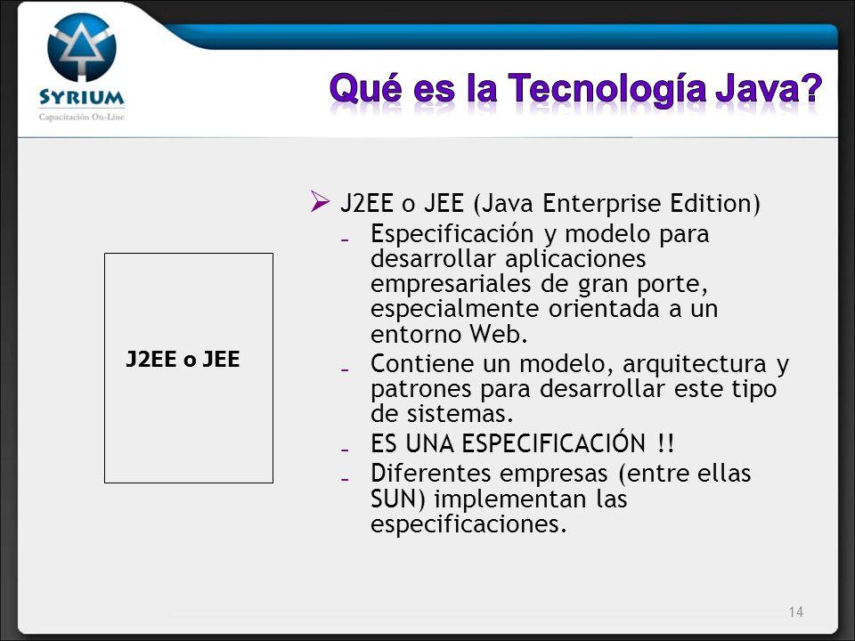 J2EE o JEE (Java Enterprise Edition) Especificación y modelo para desarrollar aplicaciones empresariales de gran porte, especialmente orientada a un e