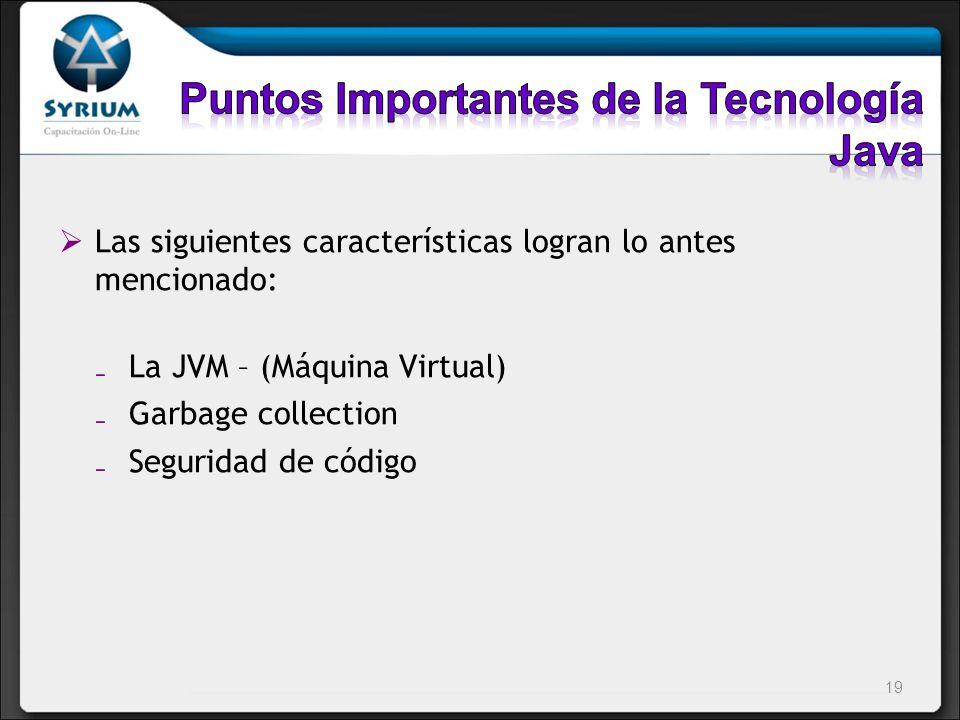 Las siguientes características logran lo antes mencionado: La JVM – (Máquina Virtual) Garbage collection Seguridad de código 19