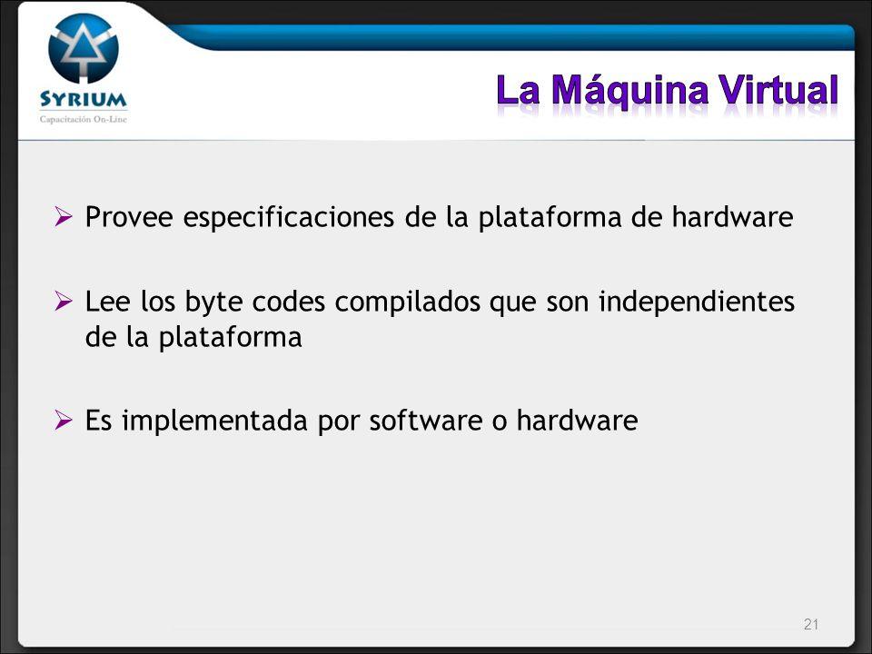 Provee especificaciones de la plataforma de hardware Lee los byte codes compilados que son independientes de la plataforma Es implementada por softwar