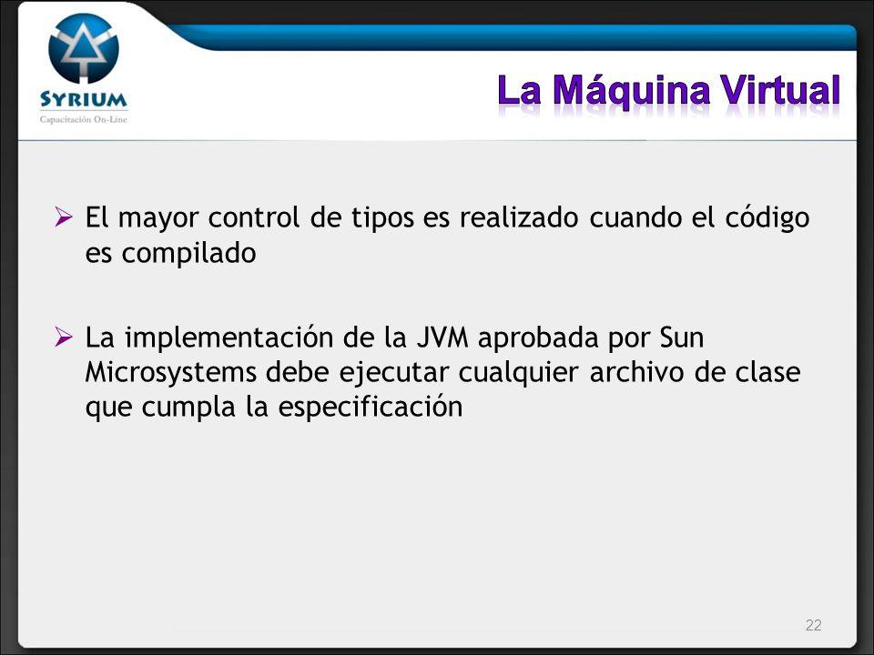 El mayor control de tipos es realizado cuando el código es compilado La implementación de la JVM aprobada por Sun Microsystems debe ejecutar cualquier