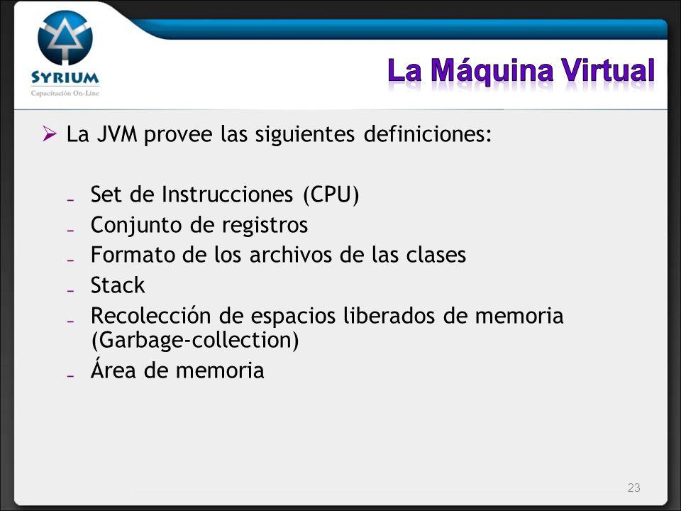 La JVM provee las siguientes definiciones: Set de Instrucciones (CPU) Conjunto de registros Formato de los archivos de las clases Stack Recolección de