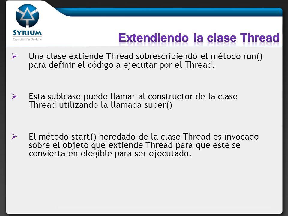 Una clase extiende Thread sobrescribiendo el método run() para definir el código a ejecutar por el Thread. Esta sublcase puede llamar al constructor d