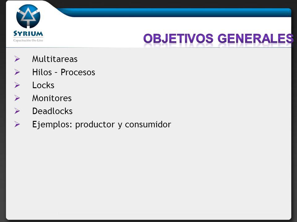 Multitareas Hilos – Procesos Locks Monitores Deadlocks Ejemplos: productor y consumidor