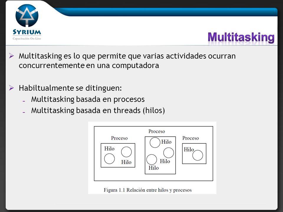 Multitasking es lo que permite que varias actividades ocurran concurrentemente en una computadora Habiltualmente se ditinguen: Multitasking basada en